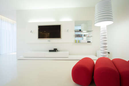 home  lighting: Close-up of designed furniture in modern living room Stock Photo