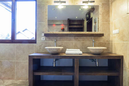 handbasin: Horizontal view of washbasins in modern bathroom Stock Photo