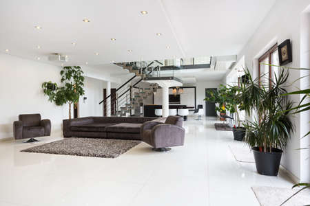 View of spacious room interior in luxury mansion