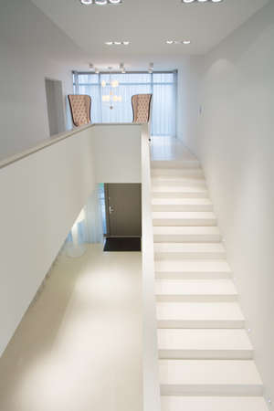stairs interior: Close-up of white stairs in exclusive mansion