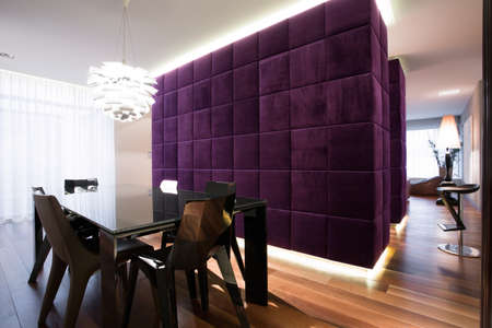 wooden partition: Exclusive dining room interior in modern style