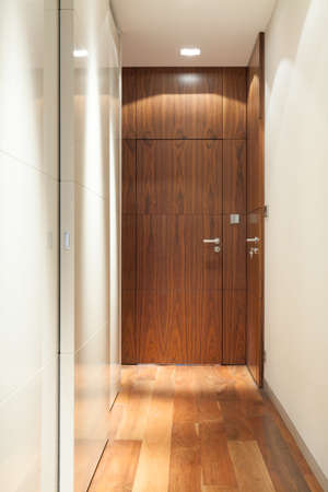 modern apartment: Vertical view of wooden door in corridor Stock Photo