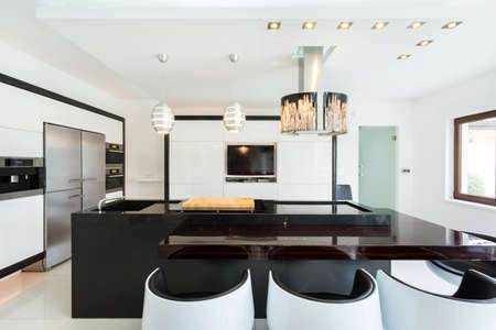Interior of spacious kitchen in modern style