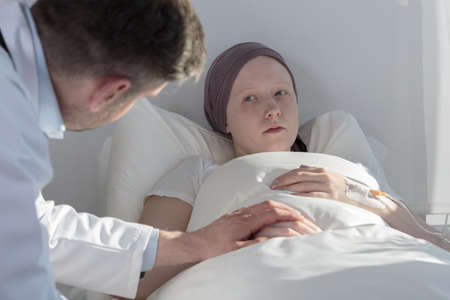 supportive: Terminally ill girl with cancer and her supportive doctor
