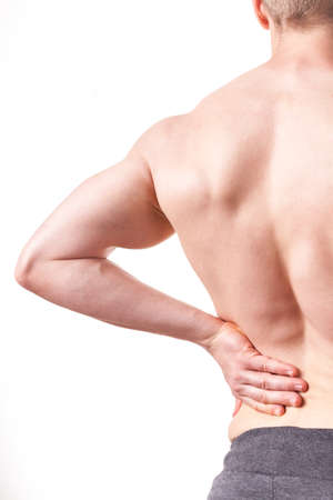 backpain: Man with pain of lower back - white background