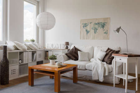 living room design: Interior of modern drawing room in white Stock Photo