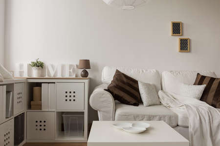 白いソファとリビング ルームの茶色のクッション