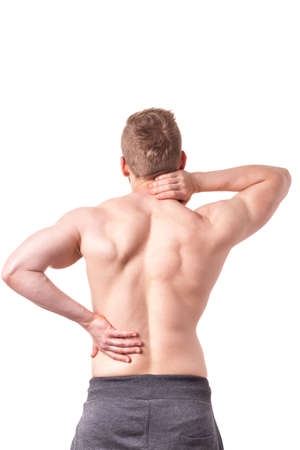 spinal disks: Young muscular man suffering from back pain Stock Photo