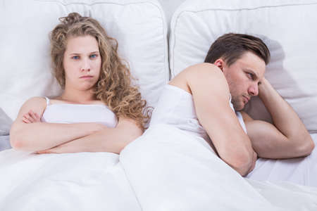 having sex: Image of angry and frustrated pair having relationship problem