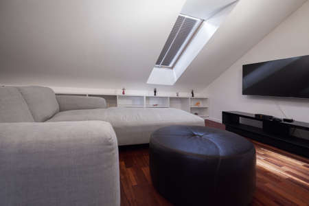 attic: Corner grey sofa in attic room in stylish apartment