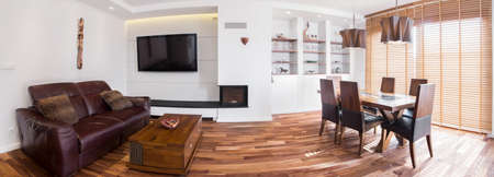Panoramic picture of exclusive living room in house