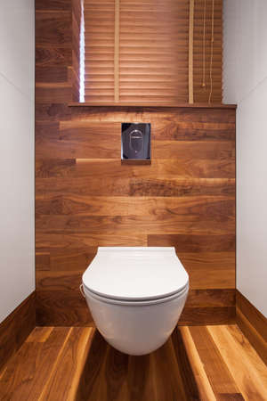 a toilet seat: Wooden wall and floor in toilet in the residence