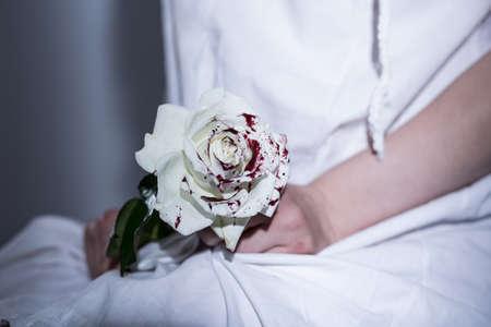 Rosa bianca insanguinata - metafora della violenza sessuale Archivio Fotografico - 42783669