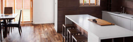 clean home: Panoramic photo of kitchen and dinning room