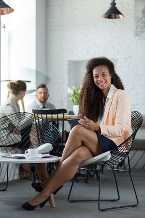 secretary desk: Attractive African American woman in the restaurant