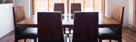 dinning room: Close-up of wooden table in dinning room