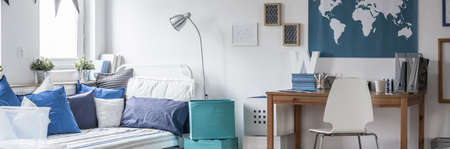 recreation room: Panorama of bed and desk in modern white room