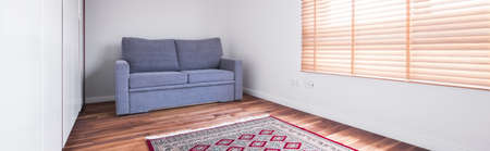 carpet and flooring: Panoramic picture of room with wooden floor in apartment
