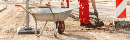 road closed: Close-up of wheelbarrow at the road construction