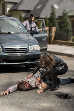 Driver hitting a pedestrian on the street