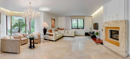 panoramic windows: Exclusive and splendid living room with fireplace