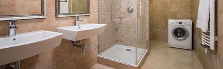 washbasins: Bathroom with basins, shower and washing machine