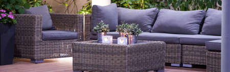 patio chairs: Luxury patio with modern furniture and romantic atmosphere Stock Photo