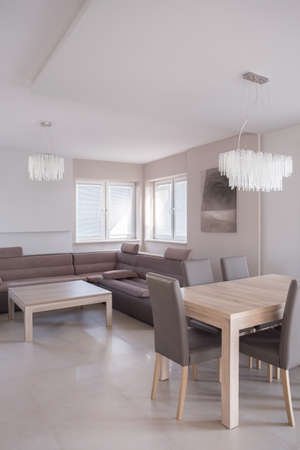commodious: Open-concept living room with comfortable sofa and place for dining Stock Photo