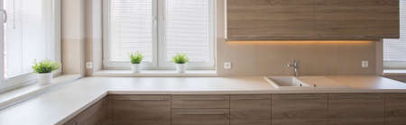 worktop: Well-lighted kitchen with large worktop and wooden cabinet doors Stock Photo
