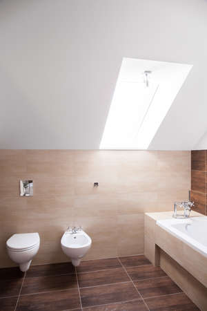 commodious: Spacious bathroom arranged in the attic of modern house