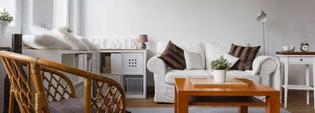 quality home: Panorama of cosy light lounge in modern villa Stock Photo