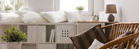 Banner of white wooden sideboard in cosy living room