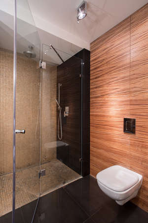 wood floor: Picture of new bathroom with wall tile imitating wood
