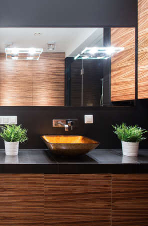 mirror image: Image of modern bathroom with decorative worktop and mirror