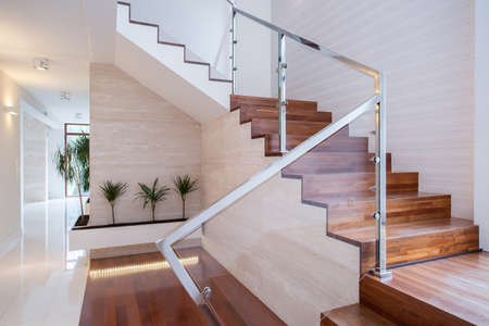Image of stylish staircase in bright house interior Stok Fotoğraf - 43221818