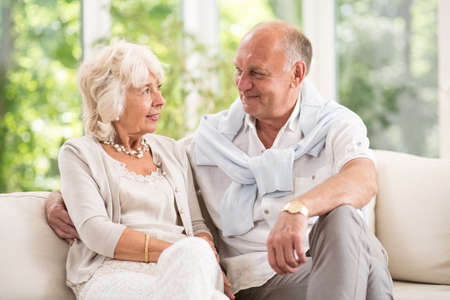 older age: Senior couple having romance in old age