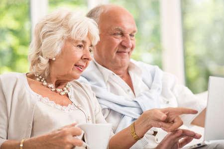 Modern senior couple surfing on the internet