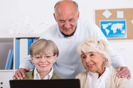 mature people: For mature people computer is something known Stock Photo