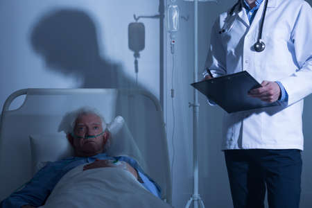hospice: Terminally ill male patient staying in hospice