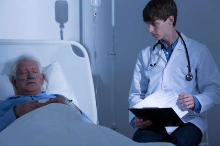 terminals: Elder male patient suffering from terminal illness Stock Photo