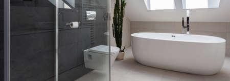 豪華なバスルームにバスタブとシャワー ブース