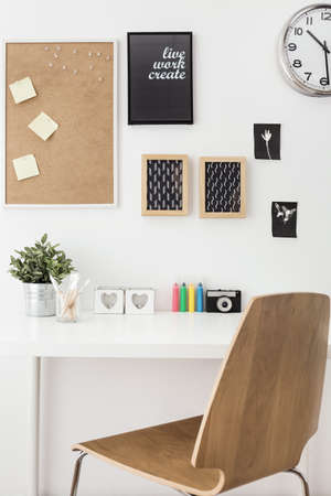 pin board: Photo of designed workspace for creative person Stock Photo