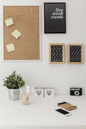 frame wall: Vertical view of workspace with bulletin board