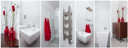 handbasin: Modern bathroom with beautiful red decorations