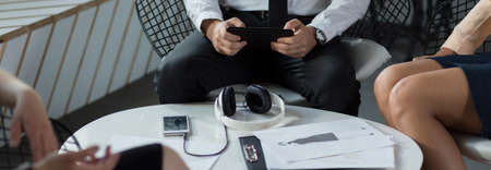 panoramic business: Businesspeople are working in the restaurant Stock Photo