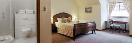 double bed: Hotel double bed room with separate bathroom