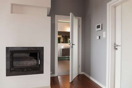 main: White entrance door to lounge and fireplace