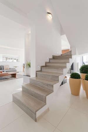 One-storey house with wooden stairs without rails