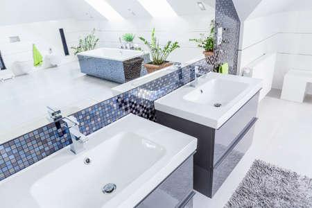 Close-up de deux bassins de porcelaine dans salle de bains moderne Banque d'images - 43692545