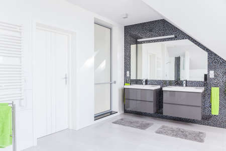 washroom: White and grey spacious modern decorated washroom Stock Photo